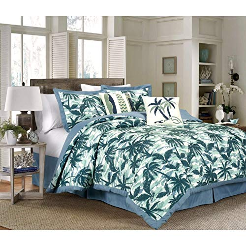 Cottage Sea (MISC 6 Piece Blue White Tropical Comforter Full Sized Set Tropics Theme Bedding Paradise Palm Trees Botanical Coconut Tree Pattern Beach Ocean Sea Cottage Cabin, Cotton)