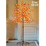 Twinkle Star Lighted Maple Tree, 6 Feet 120 LED Artificial Tree with Lights for Thanksgiving Harvest Fall Festival Home Party Decoration