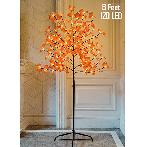 Thanksgiving Outdoor Decorations Lighted (Twinkle Star Lighted Maple Tree, 6 Feet 120 LED Artificial Tree with Lights for Thanksgiving Harvest Fall Festival Home Party)