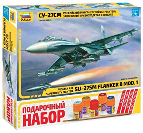 ZVEZDA 7295 P - Russian Air Superiority Fighter SU-27SM Flanker B Mod.1 - Gift Set (Paints Included) Plastic Model Kit Scale 1/72 210 Parts Lenght 12.25