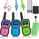 Wishouse Rechargeable Walkie Talkies for Kids 3 Pack with Charger Battery, Two Way Radio Family Talkabout Long Range, Outdoor Game Camping Adventure Toys Birthday Xmas Gifts for Girls Boys Age 3-12