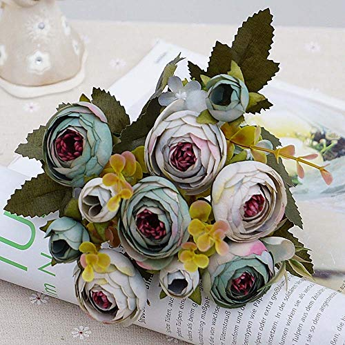 (CoronationSun - Rose Artificial - 10heads/1 Length 28cm Bundle Silk Roses Bouquet for Christmas Home Wedding New Year Decoration Fake Plants Artificial Flowers)
