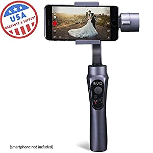 EVO SHIFT 3 Axis Handheld Gimbal for iPhone & Android Smartphones - Intelligent APP Controls for Auto Panoramas, Time-Lapse & Tracking + Built in Phone Charging - Includes 1 Year US Warranty