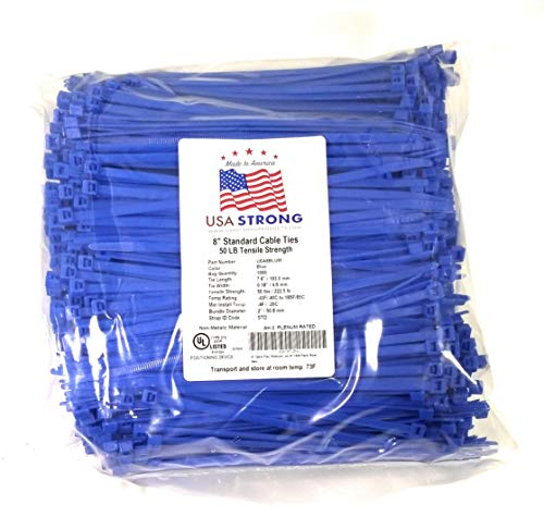 8 Cable Ties. Premium Nylon Wire Management Zip-ties. Several colors available in 1,000 piece pack or Bulk Wholesale Case Quantity. 50 LB Tensile. USA Strong Cable Ties (8