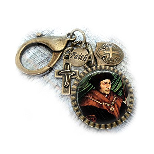 St. Thomas More Keychain Purse Clip or Backpack Clip, Catholic Patron Saint of Lawyers, Key Chain