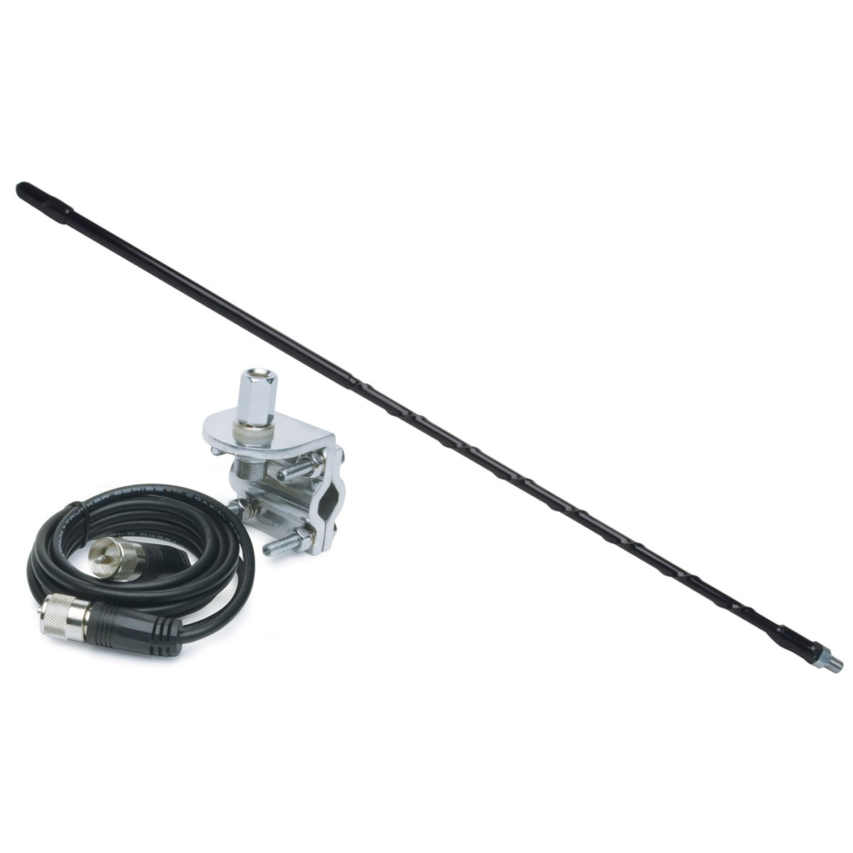 Solarcon 213B Black 3 Fiberglass 750W Top Loaded CB Antenna with Mirror Mount//Cable