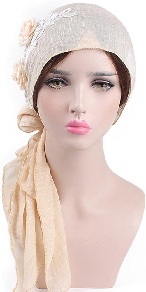 iShine Turban de Femme Fil/é de Coton avec Fleurs D/écoratif El/égant Bonnet Hijab Chimio Chemo Casquette Turban Respirant Capuchon Musulman Coiffure Islamisme
