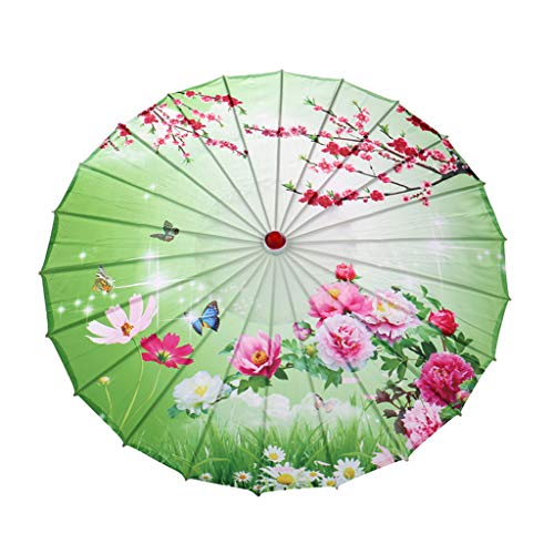 Clearance Sale!DEESEE(TM)Chinese Silk Cloth Umbrella Classical Style Decorative Umbrella Oil Paper Umbrel (B) -