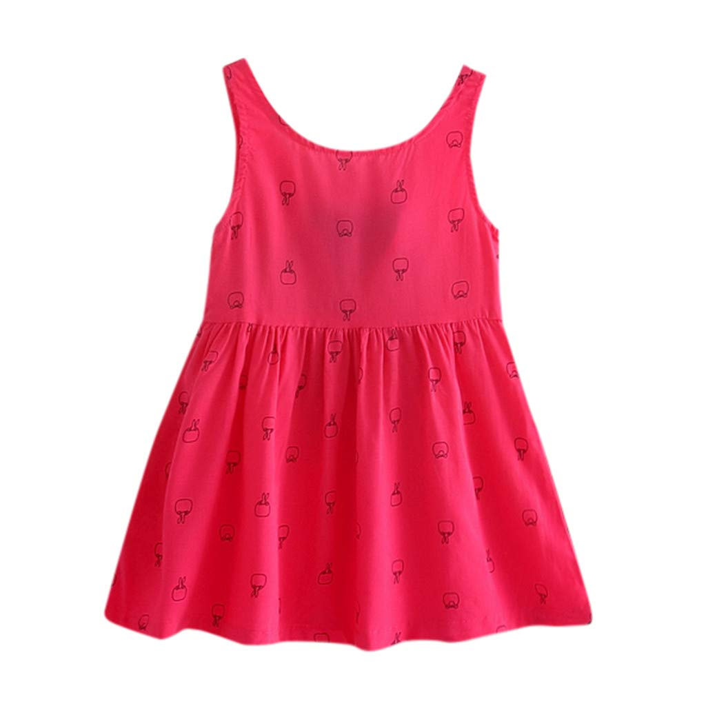 Toddler Baby Girl Kids Bowknot Floral Sleeveless Casual Princess Dresse Clothing Hot Pink