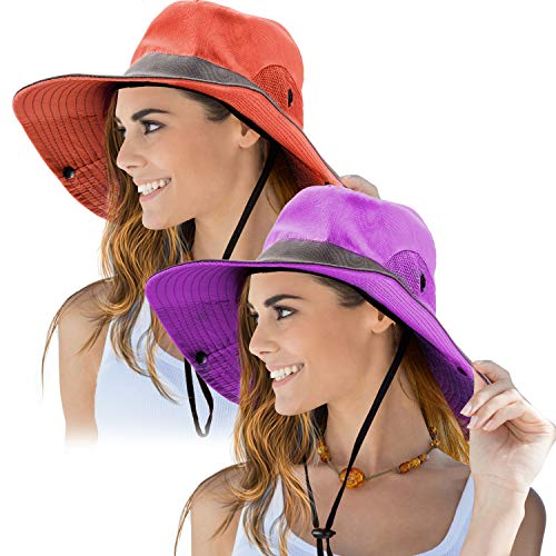 (2 Pieces Women's Outdoor Sun Hat UV Protection Foldable Mesh Wide Brim Beach Fishing Cap (Purple, Orange))