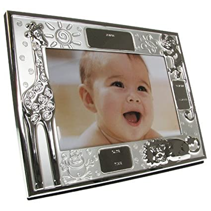 Amazon.com: New Baby Gift, Engraved Silver Plated New Baby Photo ...