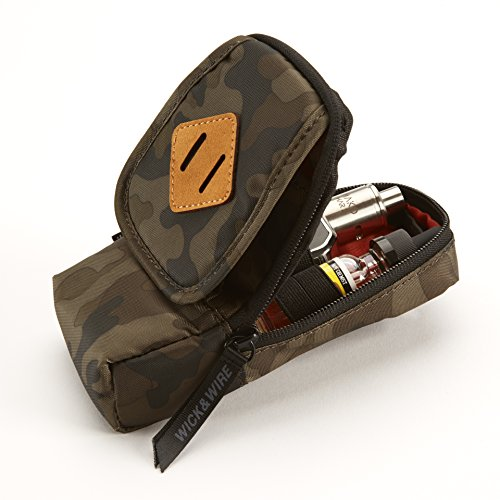 Vape Case for Travel - Secure, Organized, Premium Vape Bag - Fits Any Mechanical Box Mods, e-Juice, Battery, Tank Holder & Accessories - Wick and Wire (Primo Camo)