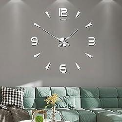 Frameless Large 3D DIY Wall Clock Mute Mirror Stickers Home Office School Decoration (2-Year Warranty)(015-SR)
