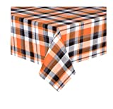 Nantucket Halloween Tablecloth Orange, Black and White Plaid Cotton Fabric (60 x 102 Rectangle/Oblong)
