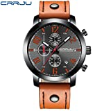 Axiba Men's Multi-Function Six Needles Chronograph Leather Strap Run Sports Watch (C)
