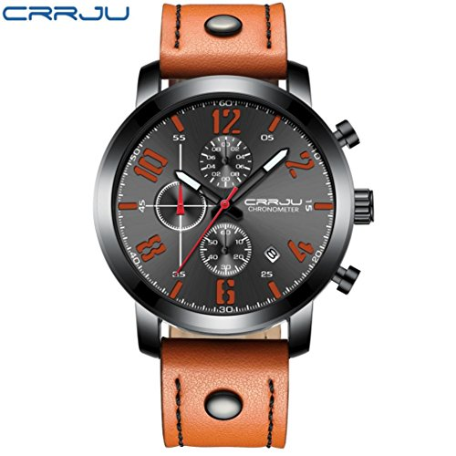 Axiba Men's Multi-Function Six Needles Chronograph Leather Strap Run Sports Watch (C) by Axiba