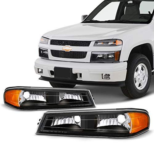 Fits 2004-2012 Chevy Colorado GMC Canyon 06-08 Isuzu i-Series Black Bumper Signal Parking Lights Lamp Pair Left+Right Colorado Parking Signal Light