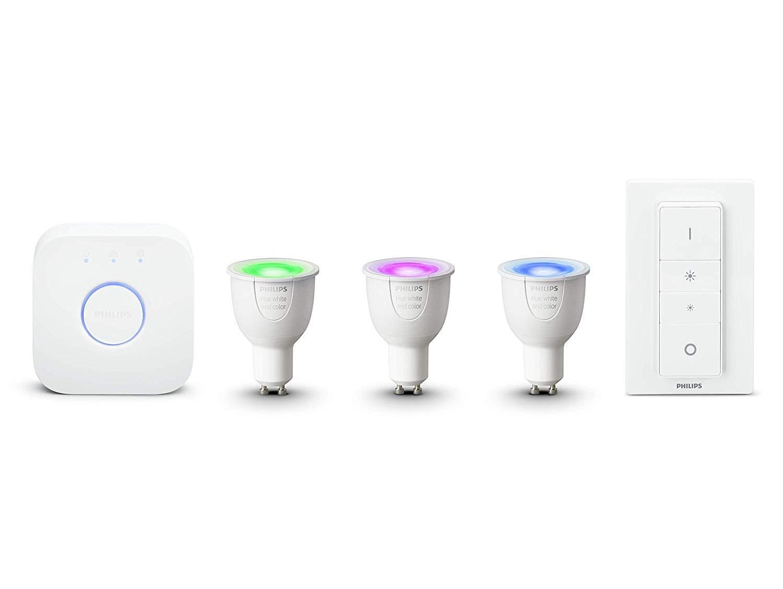 Philips Hue White and Color Ambiance - Kit de 3 bombillas LED GU10 con puente y mando, 6.5 W, iluminación inteligente, cambian de color, Compatible con Amazon Alexa, Apple HomeKit y Google Assistant