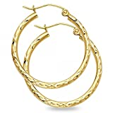 Solid 14k Yellow Gold Round Hoop Earrings Diamond Cut Polished Design French Lock Fancy (Size Options)