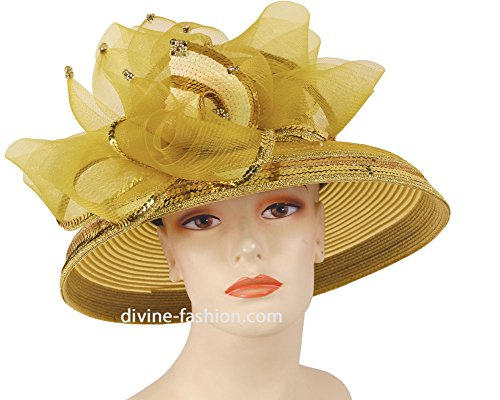 Mr. Hi Collection Womens Wide Brim Derby, Church Hat, Dressy Formal Hats #4101 (Gold) by Mr. Hi Collection