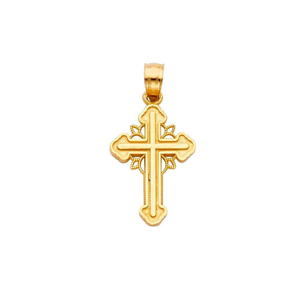 18mm x 15mm with 18 Rolo Chain Million Charms 14k Yellow Gold Small//Mini Religious Budded Design Cross Charm Pendant