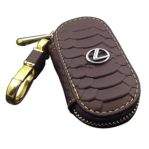 amooca-waved-genuine-leather-car-remote-key-holder-case-cover-brown-fit-for-lexus-with-logo