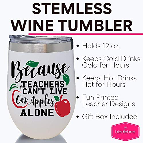 Teacher Stainless Stemless Wine Tumbler – 12 oz. Double Wall Vacuum Insulated Travel Glass with Lid – Great Christmas or…