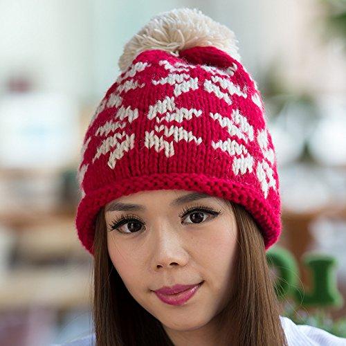 Maozi Sombrero del Europa de Bola Color Surge RED Larga Lana Copo Knit Opcional Nieve rrwqRxBvW