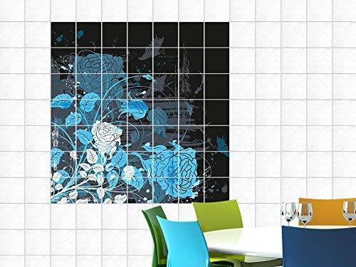 Adesivi per piastrelle immagini per cucina con rose fiori foglie