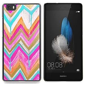 """Planetar ( Rayas del corazón Metal cepillado púrpura"""" ) Huawei Ascend P8 Lite (Not for Normal P8) Fundas Cover Cubre Hard Case Cover"""