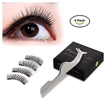 3d531a204cf Amazon.com : Magnetic Eyelashes Dual Magnet Glue-free 3D Reusable Full Size  Premium Quality Natural Look Best False Lashe By CE(1 Pair/2 Pcs) : Beauty