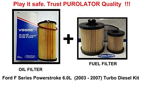 1 Fuel & 1 Oil Filter for 03-07 Ford F Series Powerstroke 6.0L Turbo Diesel Kit