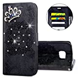 IKASEFU Galaxy S7 Case,3D Clear Crown Rhinestone Diamond Bling Glitter Wallet with Card Holder Emboss Mandala Floral Pu Leather Magnetic Flip Case Protective Cover for Samsung Galaxy S7,Black