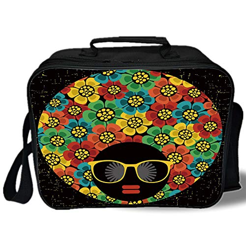 Insulated Lunch Bag,70s Party Decorations,Abstract Woman Portrait Hair Style with Flowers Sunglasses Lips Graphic Decorative,Multicolor,for Work/School/Picnic, -