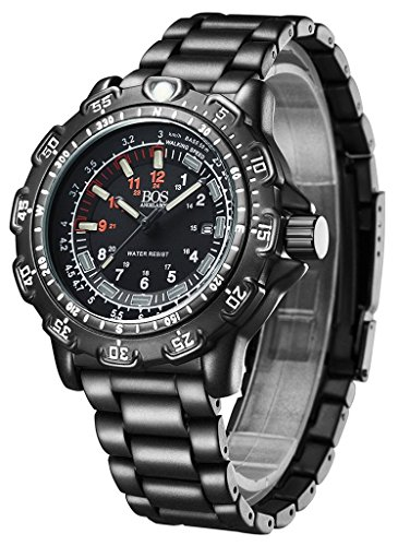 BOS-Mens-Army-Military-Luminous-Wrist-Sport-Multi-function-Watch-Stainless-Steel-Band-8015