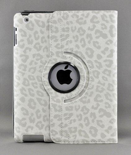 LiViTech(TM) Leopard Design Series 360 Degree Rotating PU Leather Case Cover for Apple iPad (iPad 2 3 4, White)