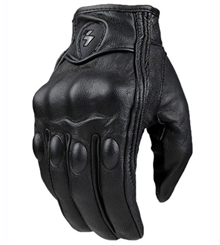 Fashion Glove real Leather Full Finger Black moto men Motorcycle Gloves Motorcycle Protective Gears Motocross Glove (L)