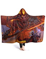 Valinc Dungeon DND Dragon Dice Game Hood Wearable Blanket for Adult Women and Men Super Soft Comfy Warm Plush Throw with Hat Tv Blanket Wrap Robe Hoodie Cover for Lounge Chair Couch Adults 80x60 in
