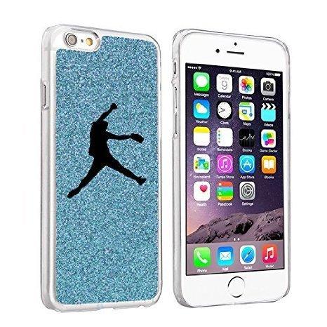 Softball Glitter (For Apple iPhone 6 6s Glitter Bling Hard Case Cover Female Softball Pitcher (Light Blue))