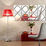 11.8'' 47.2'' Removable Mirror Tile Wall Stickers 3D Decal Mosaic Home Room Decoration For Living Room Bathroom Porch 30120(Silver)