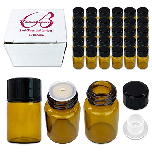 48 Packs Beauticom 2ML Amber Glass Vial for