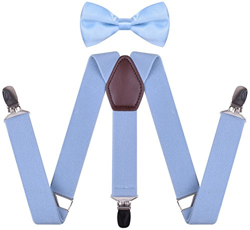 Suspender and Bowtie Set for Men Y Shape Womens Braces Suspenders on Jeans,Light Blue,Mens 50 Inches by WDSKY