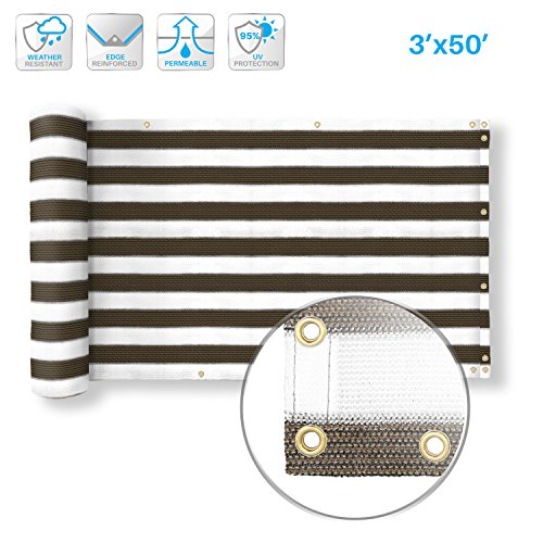 - PATIO Deck Privacy Screen 3' x 50' Perfect Outdoor,Backyard, Balcony,Pool,Porch,Railiing,Gardening,Fence Shield Rails Protection Brown White -Custom
