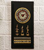 Unravel India Warli Hand Painted Wooden Wall Clock with Dhokra Craft