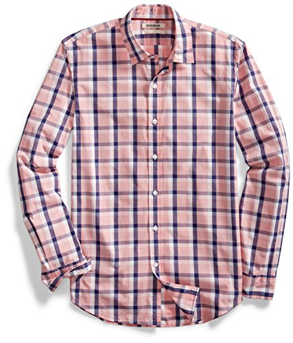 Goodthreads Men's Standard-Fit Long-Sleeve Two-Color Windowpane Shirt, Pink/Navy, X-Small