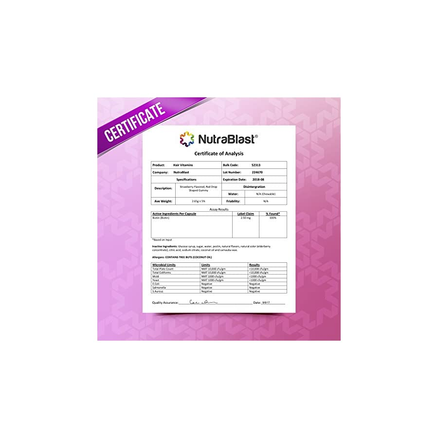 NutraBlast Biotin 5000 mcg Enhanced with Coconut Oil Hair, Skin and Nails Vitamins Made in USA (Strawberry Gummies)