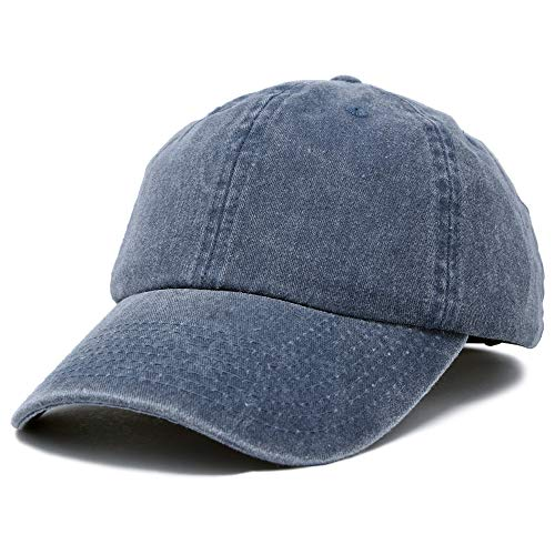 Mens Pigment Dyed Washed Cotton Cap - Adjustable Hat 6 Panel Unstructured (Heavy Washed Navy Blue) ()