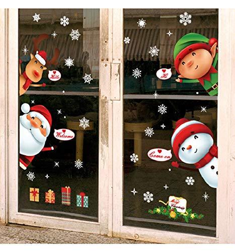heekpek Autoadesivi della Decorazione di Natale, Bambini di alci Pupazzo di Neve Santa aprono la Porta del Modello di Adesivi, Pasta elettrostatica Ecologica in PVC