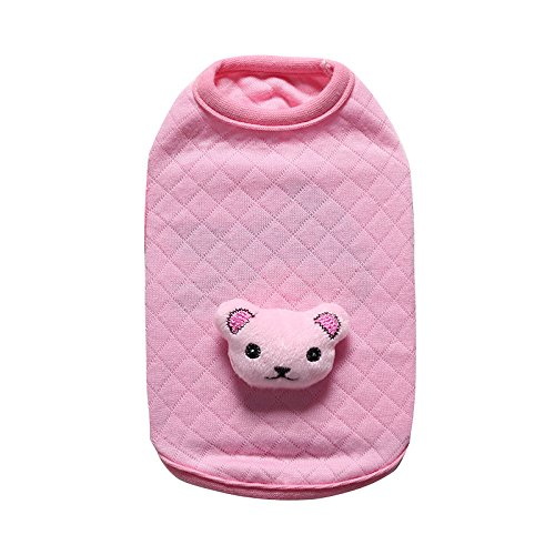 BBEART Dog Clothes,Lovely Small Dog Puppy Clothes Soft Warm Cotton Vest Dog T-Shirt Coat Cat Clothing For Small Dog Puppy Chihuahua Yorkshire (XS---19cm, Pink - Pink Dog Clothing