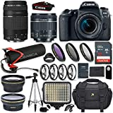 Canon EOS 77D DSLR Camera w/ 18-55mm & 75-300mm Lens + Comica Directional Shotgun Video Mic + Video LED Pro Light + 64GB Memory + Wide & Tele Lenses + High Def Filter & Macro Kit + Accessory Bundle
